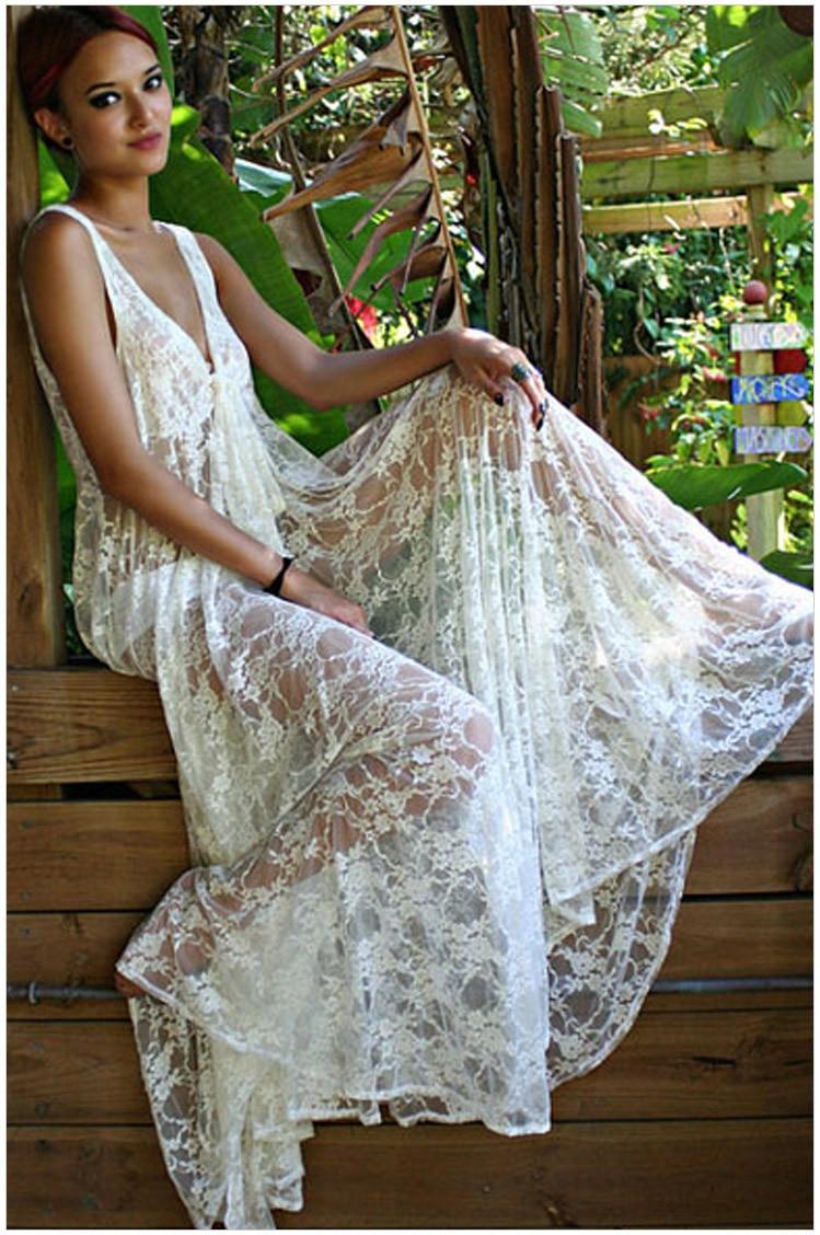 Lace Beach Bikini Outer Blouse Long Skirts Wedding Dress-Shape Honeymoon-Top Grade Export Top Grade Lace Dress
