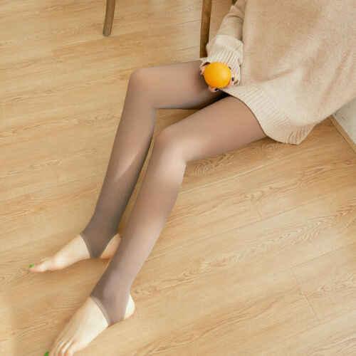 新ファッション女性レディース冬春レギンス完璧な脚偽半透明暖かいフリースレギンス黒コーヒー