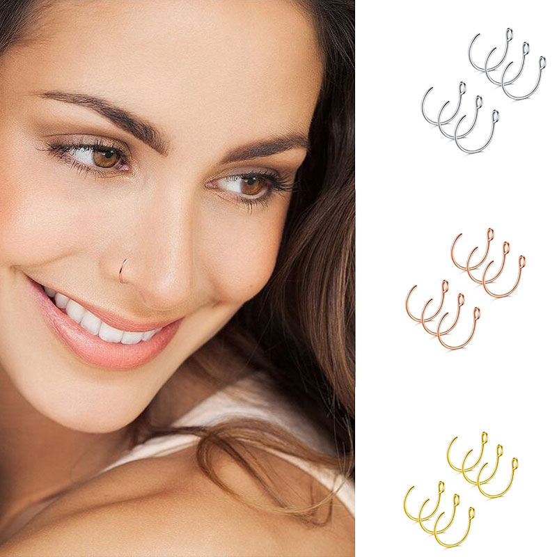6pcs Trendy Simple Nose Ring Fake Goth Punk Lip Ear Nose Clip On