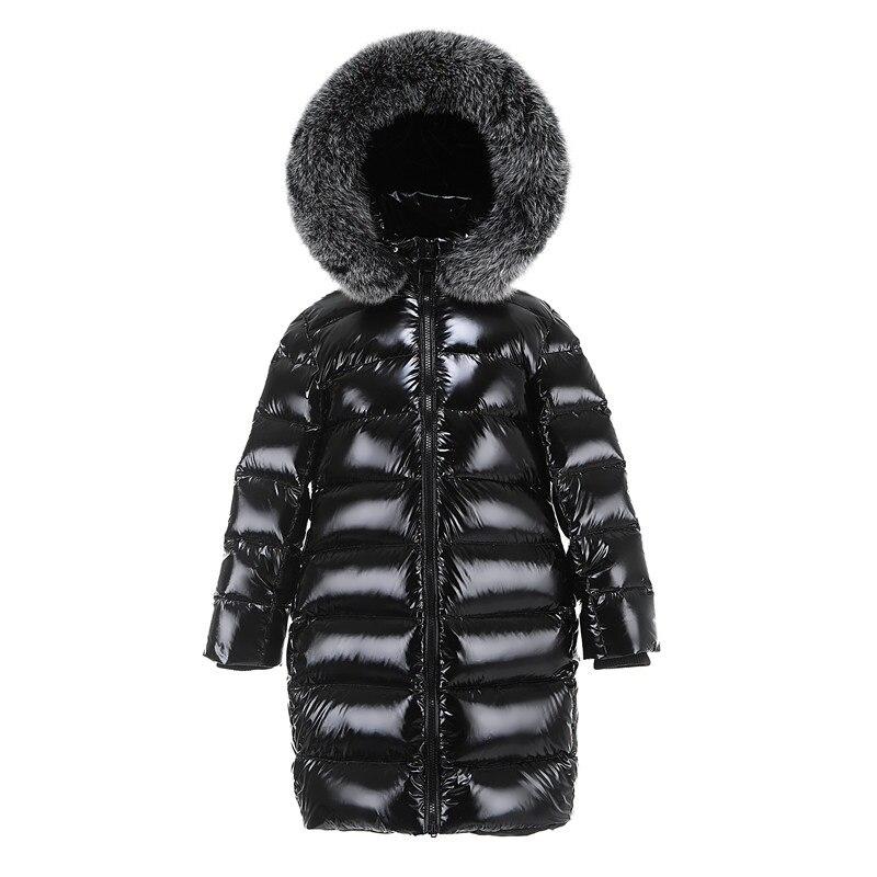 Boys Girls Long Down Jacket Children Big Fox Fur Collar Down Coat Raccoon Fur Hooded Black