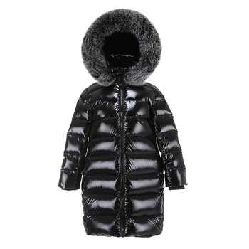 Boys Girls Long Down Jacket Children Big Fox Fur Collar Down Coat Raccoon Fur Hooded Black Jacket Children Clothes - DISCOUNT ITEM  24% OFF All Category