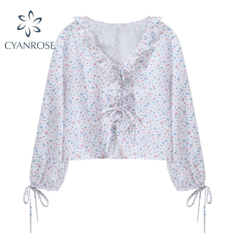 Блузка женская шифоновая на шнуровке, свободная рубашка с длинным рукавом, V-образным вырезом, в Корейском стиле, в стиле девушки Мори, Пляжн...