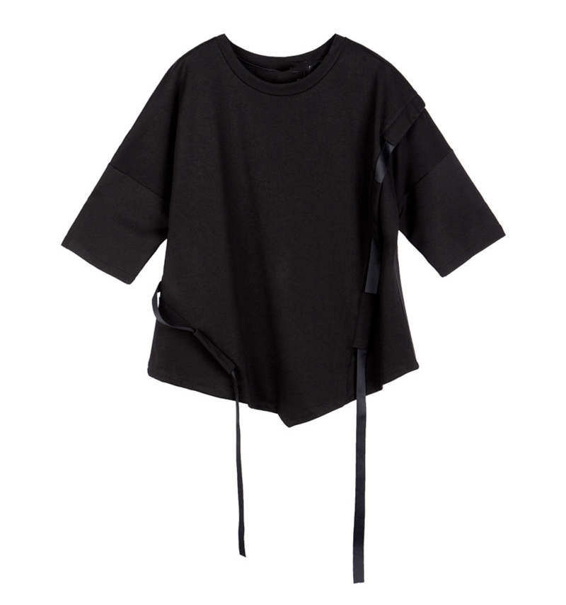 [EAM] Women Black Ribbon Split Big Size T-shirt New Round Neck Three-quarter Sleeve  Fashion Tide  Spring Summer 2020 1Z355 6