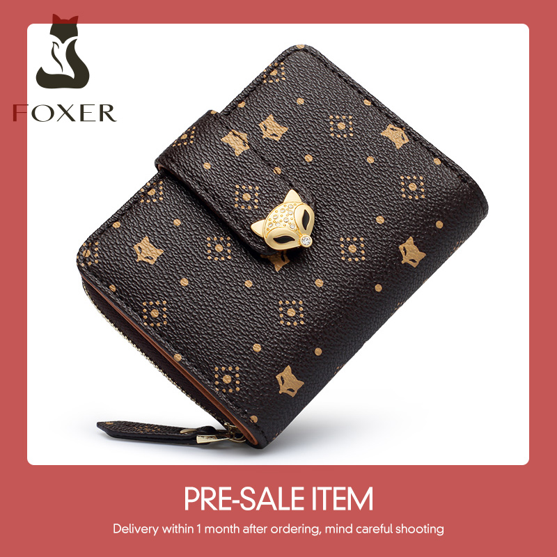 Foxer Embossing Mini Short Stylish Lady Money Bag Printing ID Card Holder Female Coin Case Women Wallet PVC Classical Key Case
