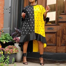 Ladies Oversized Loose Yellow Black Polka Dots High Low Ruffles Dress Africa Color Women Summer Autumn Midi Falbala