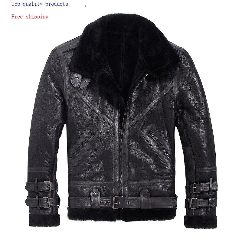 Mens Leather Jacket Winter Sheepskin Coat Short Genuine Leather Motorcycle Sheep Shearling Jacket For Men Wool Lining