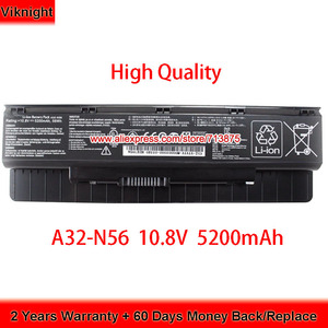 High Quality A32-N56 Laptop Battery for Asus N56L82H N56VJ-DH71 N46 N46V N56 N56D N76 N76V 10.8V 5200mAh