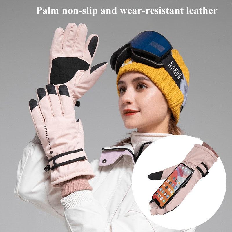 Autumn and winter outdoor skiing gloves women's warm and plush anti water splashinganti-skid wear-resistant, touchscreen cycling