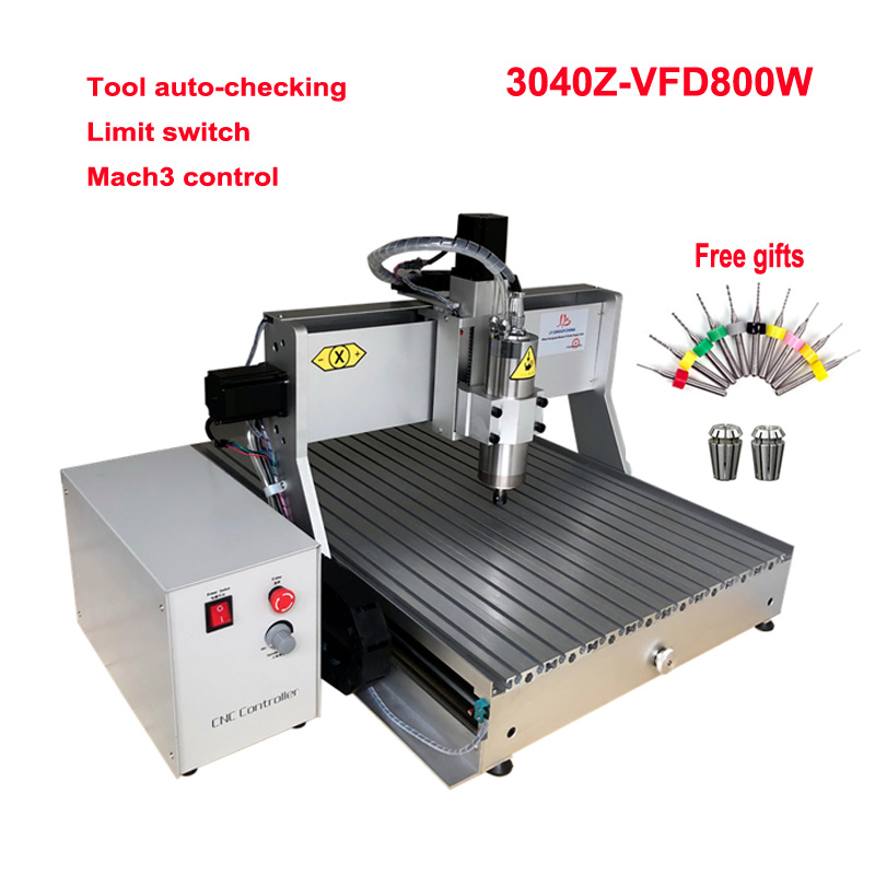 CNC Router 3040 VFD 800W Water Cooling Spindle Engraving Drilling Milling Machine 3 4 Axis Ball Screw Tool Auto-checking