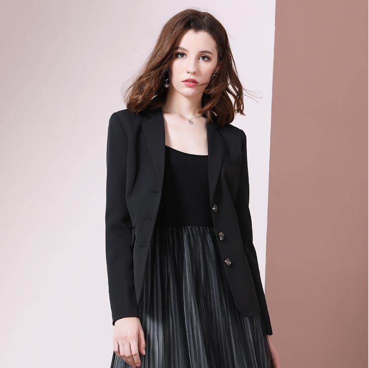 Small black suit, jacket woman, new style of autumn 2019, slim, Lapel retro, chic Online Star