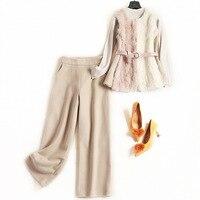 Women fashion autumn winter fur vest 3 piece set color block rabbit hair tops + knitted pullovers + woolen pant suit blue beige
