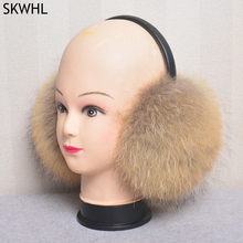 2021 New Fashion Oversized Real Big Fox Fur Earmuffs Winter Women Real Fur Earmuffs Lovely Personality Plush Fur Ear Cover Warm