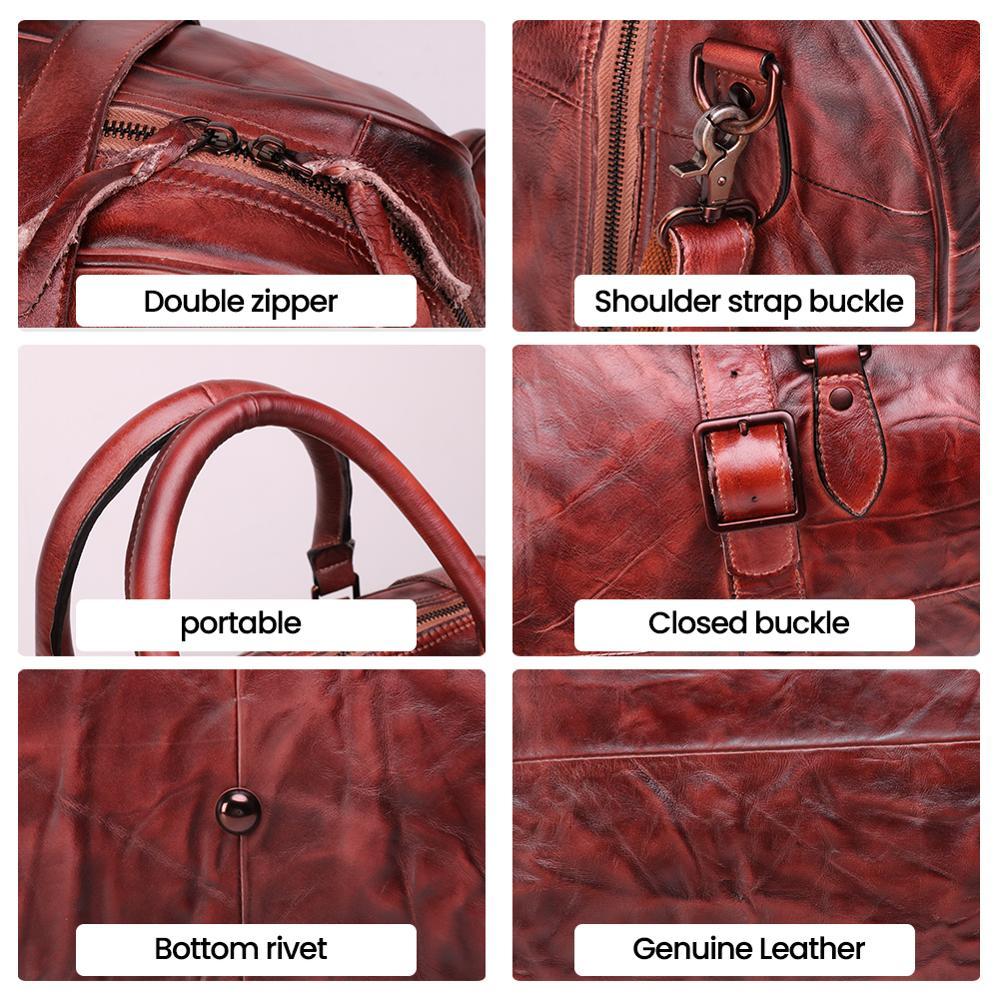JOGUJOS Homens Duffel Bag dos homens de Couro Genuíno Bolsa Saco Saco de Viagem Bagagem Bolsa de Ombro Projeto Duffle Bag Weekend Tote Do Vintage homens - 5