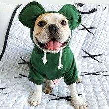 Perro de invierno Sudadera con capucha francés mascota Bulldog Ropa para pequeño mediano perros traje de oreja grande Perro Ropa para Perro chaqueta de abrigo de Ropa de Perro