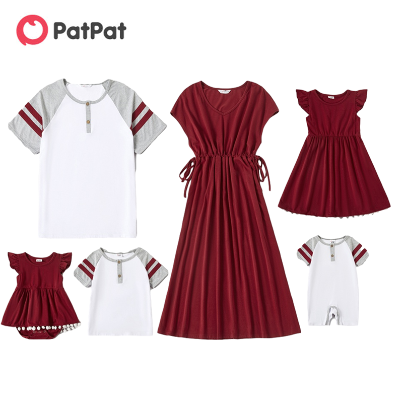 PatPat 2021 New Arrival Mosaic Family Matching Red and White Series Sets(V-neck Dresses - T-shirts - Rompers)