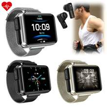 2 in 1 Wireless Bluetooth Earphones Steel Smart Watch Men Smartwatch Heart Rate Monitor Bluetooth Call for Samsung iPhone 11 LG(China)