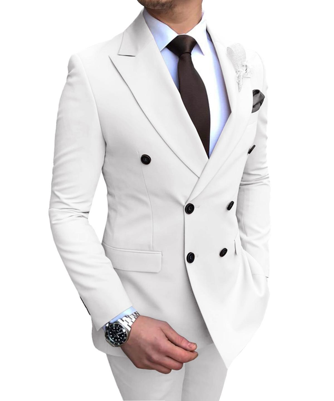 wedding : Mens Suits 2 Pieces Slim Fit Casual Business Groomsmen Grey Green Ivory Lapel Tuxedos for Wedding Suit Blazer Pants Vest