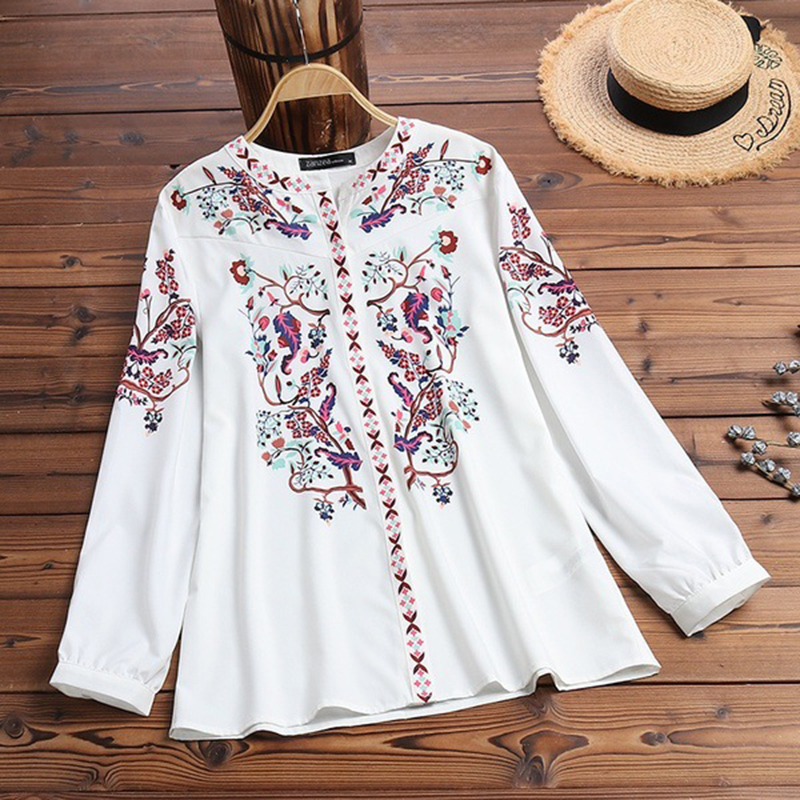 Spring Women Boho Floral Long Sleeve T Shirts Autumn Ladies V Neck Loose Casual Holiday Tee Tops Plus Size Woman T Shirt 2019
