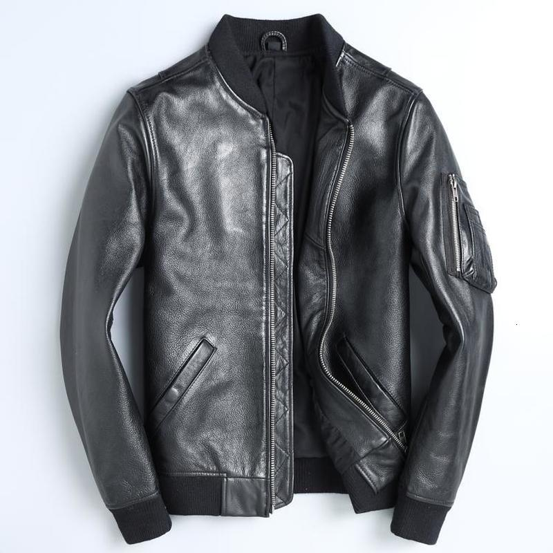 Real Leather Jacket Men Spring Autumn Cow Leather Jacekt Motorcycle Bomber Jacket Mens Clothing Jaqueta De Couro 1813 YY1018