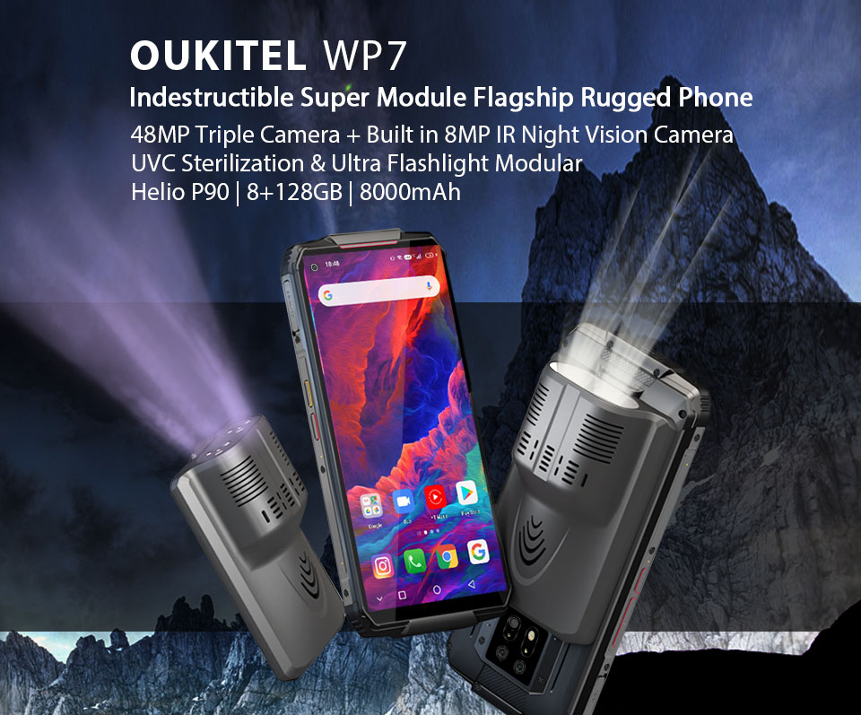OUKITEL WP7 8000mAh 6.53'' Infrared night vision Mobile Phone 8GB 128GB Octa Core 48MP Triple Cameras Rugged Smartphone