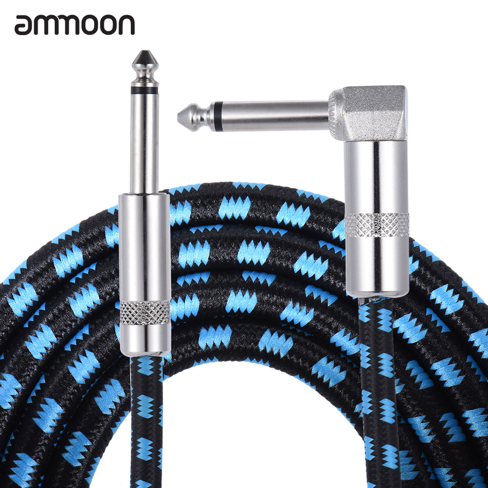 ammoon 3M / 10 Feet Instrument Guitar Cable Straight to Right Angle 1/4-Inch 6.35mm Plug with Blue Tweed Woven <font><b>Jacket</b></font> image