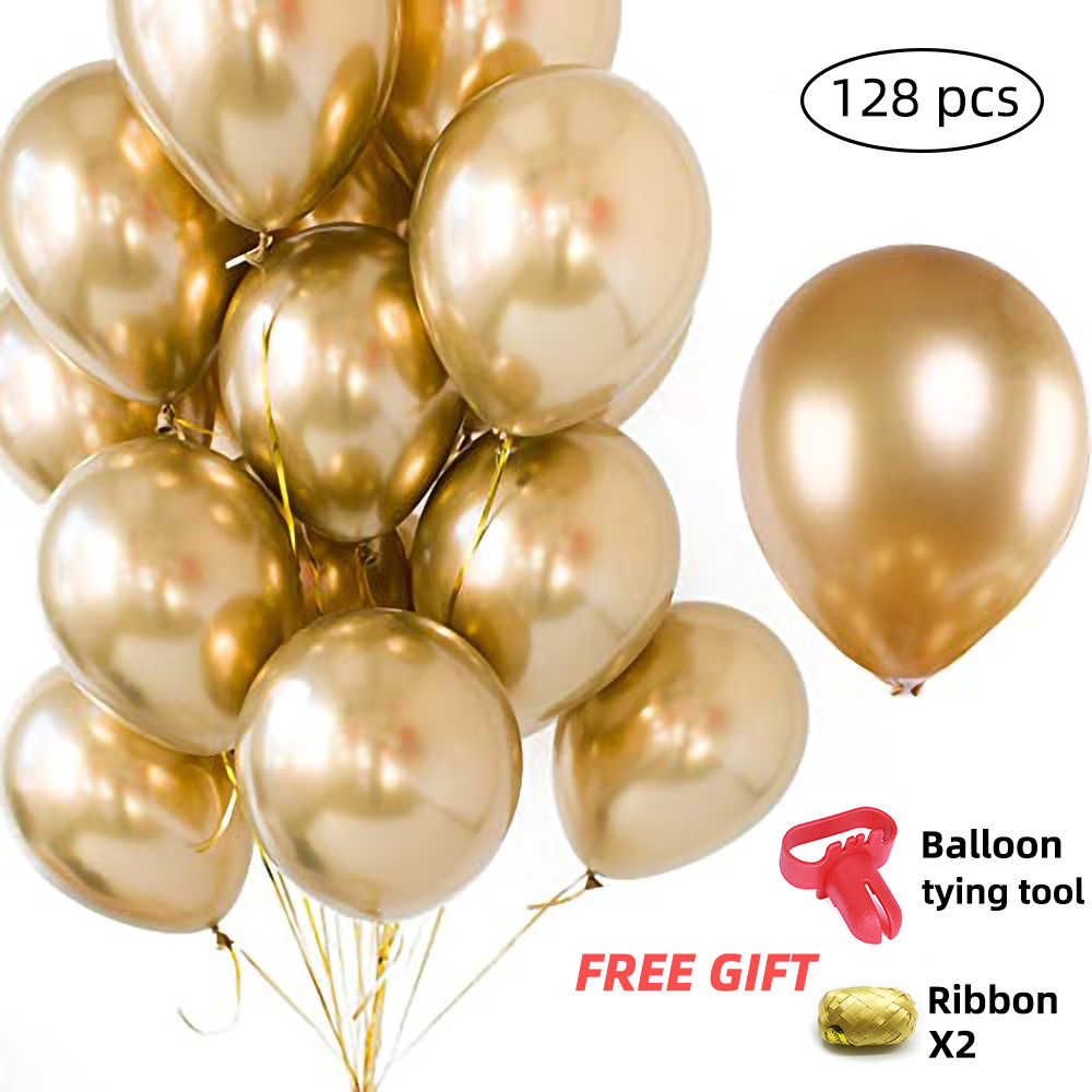 128pcs Wholesale Party Balloons Gold Metallic Balloons 12 inch Assorted Metal Chrome Latex Balloon for Birthday Decoration 0124