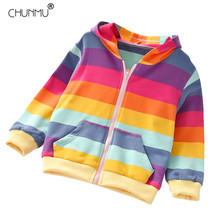 Autumn Jacket Rainbow Baby-Girls Coat Hooded Kids Outerwear Children Clothes Fashion