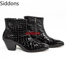 Men Boots Pointed Toe Med Heels Pu Leather  Shoes Bota Coturnos Masculino Botas Hombre Blancas Big Size 38-47 Men Boots D88 stiletto pointed toe pu heels