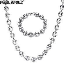 HIP 316L en acier inoxydable largeur 11MM 1 ensemble café grains chaîne collier en acier inoxydable or lien chaîne colliers pour hommes bijoux