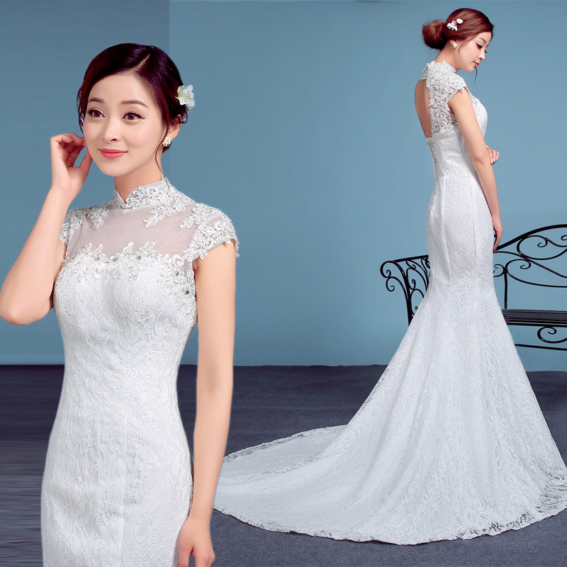 Sexy High Neck Lace Small Tail Bride Marry 2018 New Arrival Mermaid High Quality Wedding Full Dresses Pakaian Pengantin
