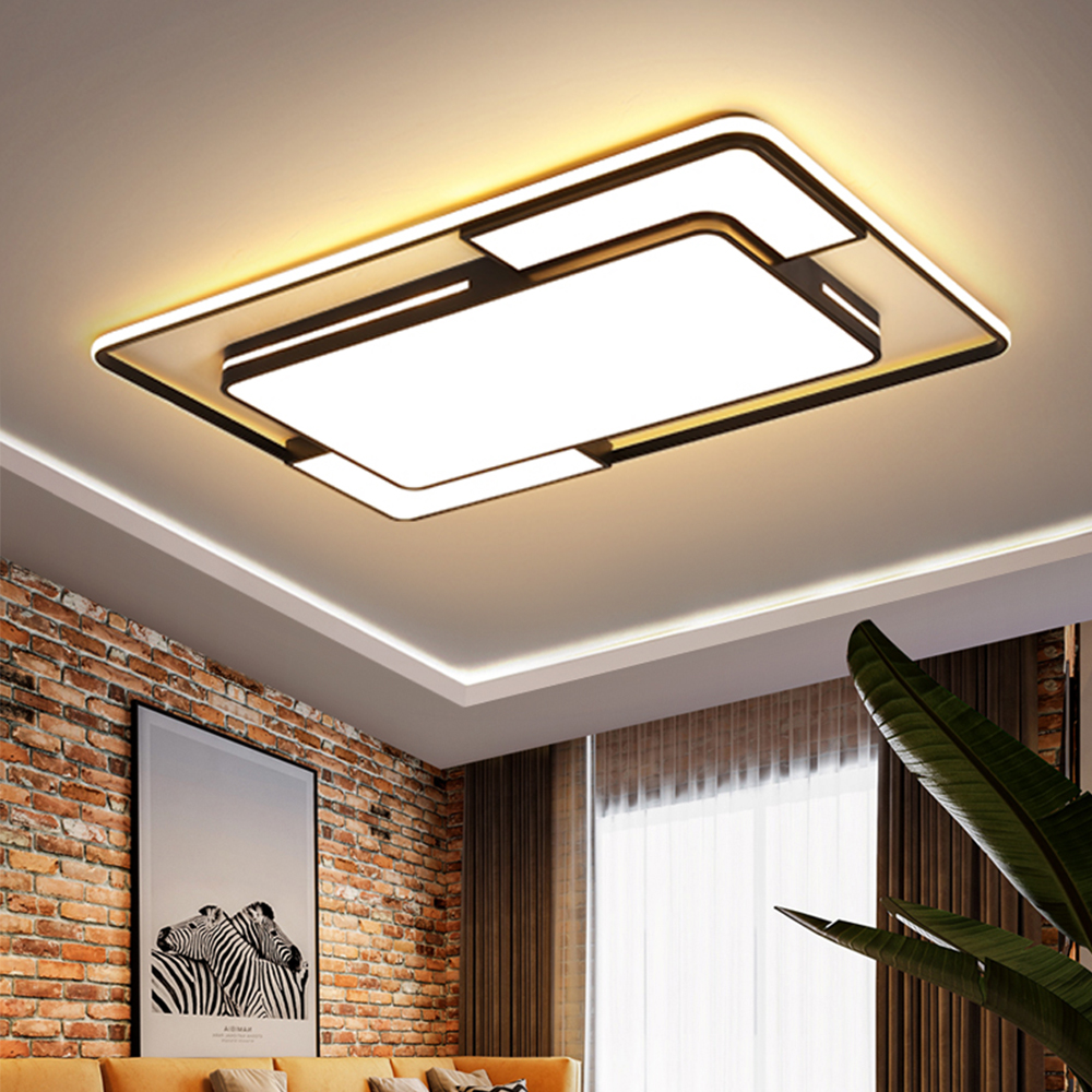 Modern LED Ceiling Light with Remote Black Dimmable Lamp Square Rectangle Lighting for Living Room Bedroom Kitchen Loft