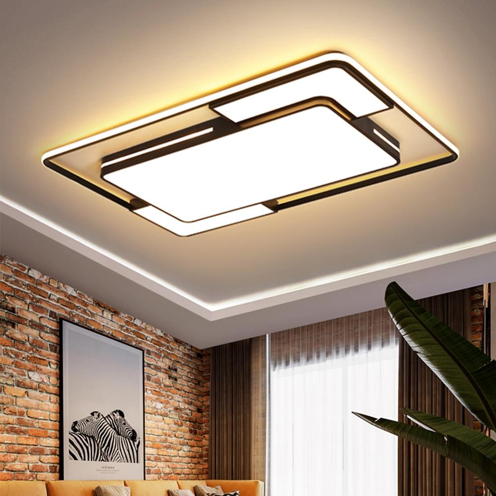 Luzes de Teto Moderna LED com Controle Remoto Luminaria de Teto Regulável Preto Iluminação de Lustre de Retângulo Quadrado com Abajur de Acrílico para Sala de Estar Quarto Cozinha Banheiro Escritório Infantil