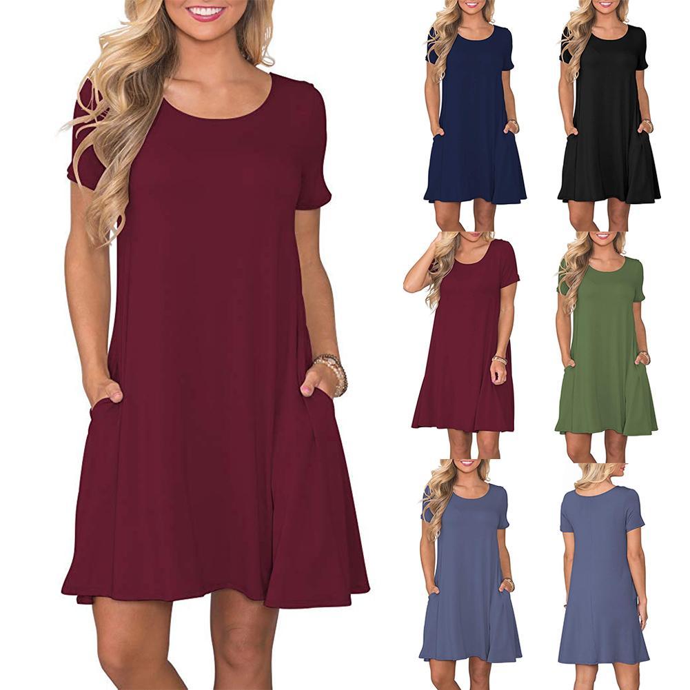 Women's Summer Casual T Shirt Dresses Short Sleeve Swing Dress Pockets 1