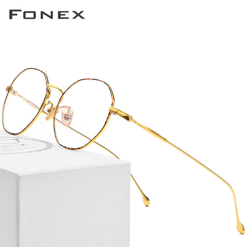 Fonex titânio óculos quadro feminino novo luxo polígono ultraleve óculos prescrição homem miopia armação óptica eyewear 861