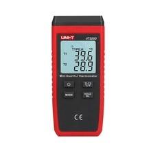 UNI T UT320D мини контактный тип цифровой термометр двухканальный K/J термопары метр ЖК дисплей подсветка Удержание данных Автоматическое отключение питания