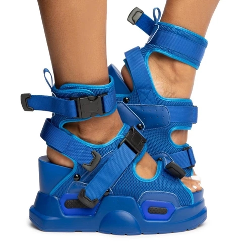 SWYIVY Leather Chunky Sandals Women Summer New 2020 Fashion Wedge Shoes For Women Casual Shoes Hook Loop Platform Sandals Ladies