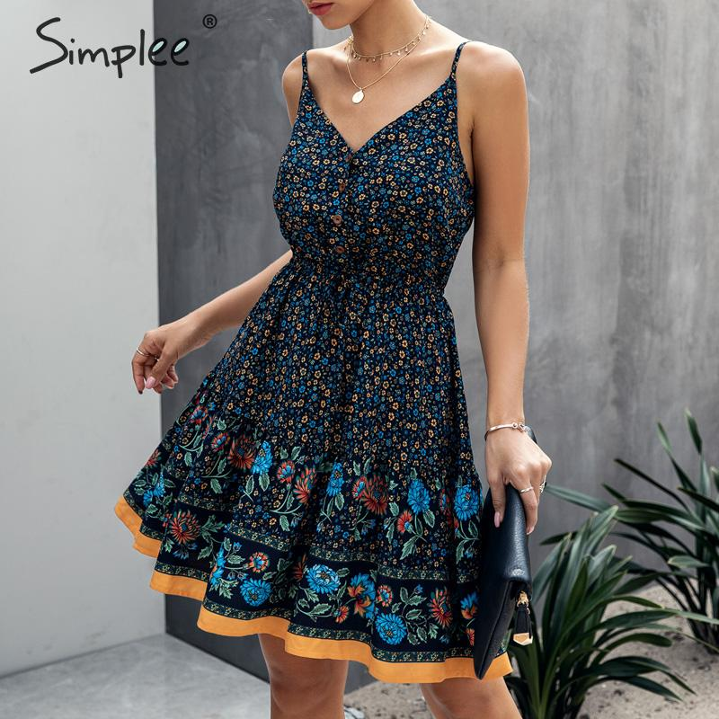 Simplee Spaghetti Strap Summer Dress Women A-line Floral Print Female Boho Dress High Waist V-neck Beach Wear Ladies Sundress