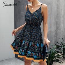 Simplee spagetti kayışı yaz elbisesi kadın A line çiçek baskı kadın boho elbise yüksek bel v yaka plaj kıyafeti bayanlar sundress