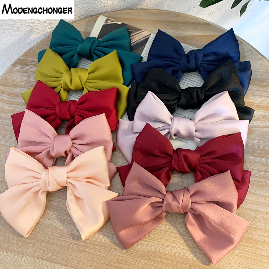 New Fashion Big Large Hair Bow Barrettes 2 Layers Chiffon Hair Clips For Women Hairgrips Ponytail Clips Quality Hair Accessories