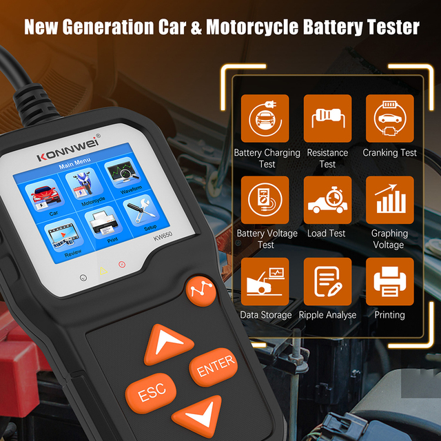 KONNWEI KW650 جهاز اختبار بطارية السيارة ل 6 فولت/12 فولت محلل 100 إلى 2000 CCA سيارة سريعة التحريك شحن اختبار بطارية أداة