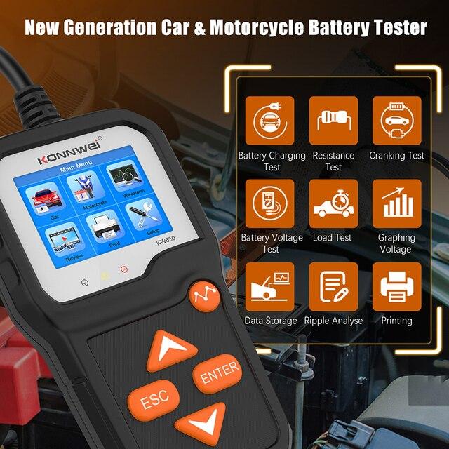 KONNWEI KW650 araba pil test cihazı için 6V/12V analizörü 100 2000 CCA araba hızlı marş şarj test cihazı pil aracı