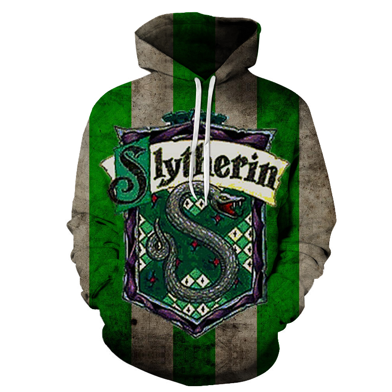 New Fashion 3D Magic School Man Pullover Slytherin Movie Printed Men Hoodies Autumn Long Sleeve Male Streetwear Tracksuit