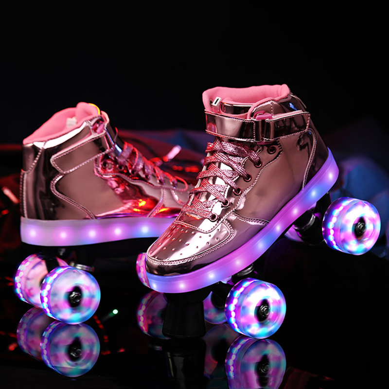 2020 New Led Rechargeable 7 Colorful Flash Shoes Double Row 4 Wheel Roller Skates Outdoor Men Women Patines