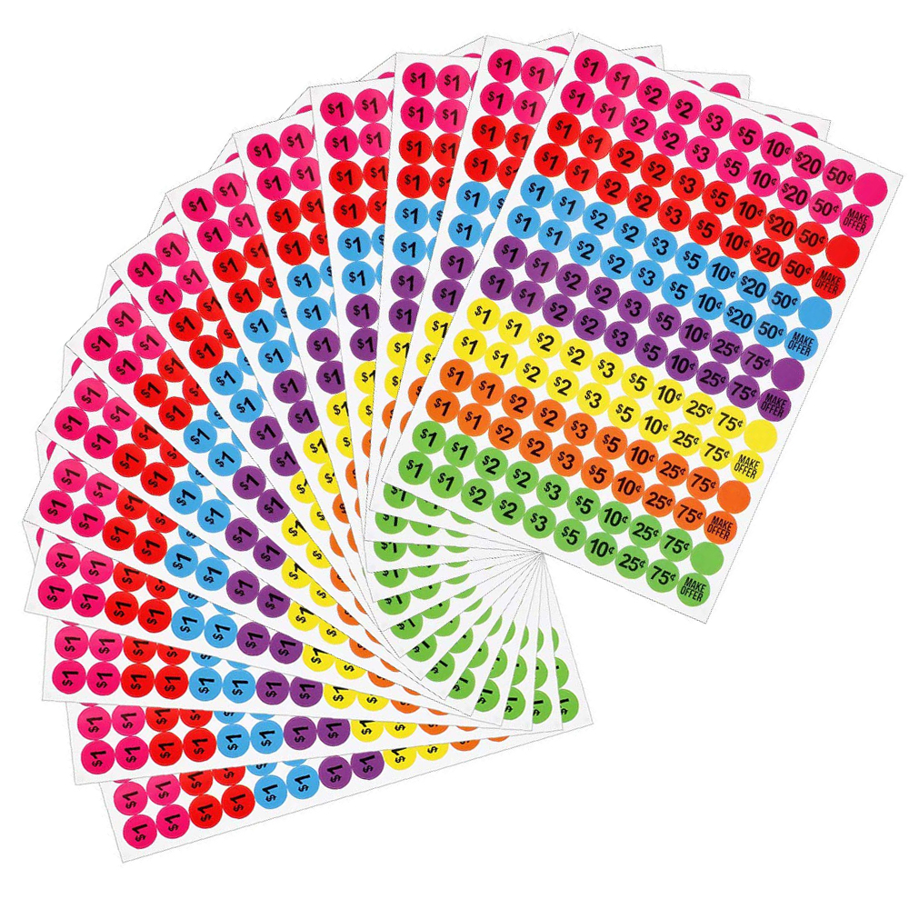 Купить с кэшбэком Sale Stickers Preprinted Pricing Labels Removable 2cm Pricemarker Prices Shopping Promotion Discount Colorful Labels 3080pcs