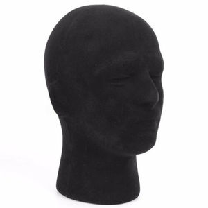 Men Head Mannequin Wig Glasses Hat Display Foam Black Head Model Holders