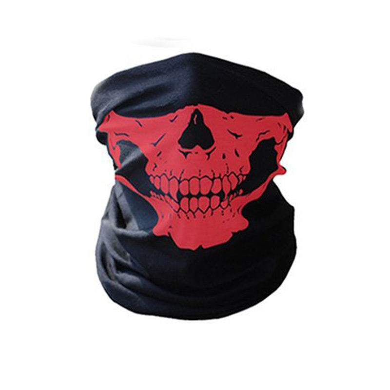 Halloween Bandanas Windproof Skeleton Skull Scarf Neck Half Warmer Face Mask Ghost Scarves for Outdoor Sports Climbing Hiking 4
