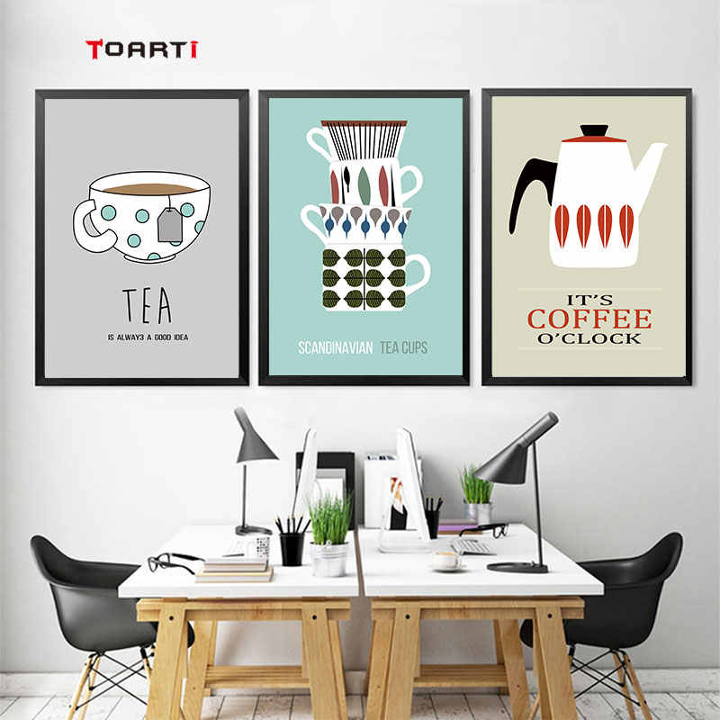 Coffee Tea Cups Posters Prints Nordic Canvas Painting For Kitchen Dining Room wall decor Modern Fashion Art Pictures home murals