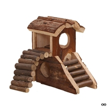 Pets Wooden House 2 Storey Small Villa Waterproof 2 Stairs Play Cage for Hamster PXPC