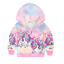 Unicorn Baby Girl Jacket Girls Coats Children Clothing Autumn Baby Girls Clothes Outerwear Unicorn Jackets amp Coats for Girls cheap Casual COTTON Polyester cartoon REGULAR Hooded Full Fits true to size take your normal size Thin (Summer) Worsted MY-3797