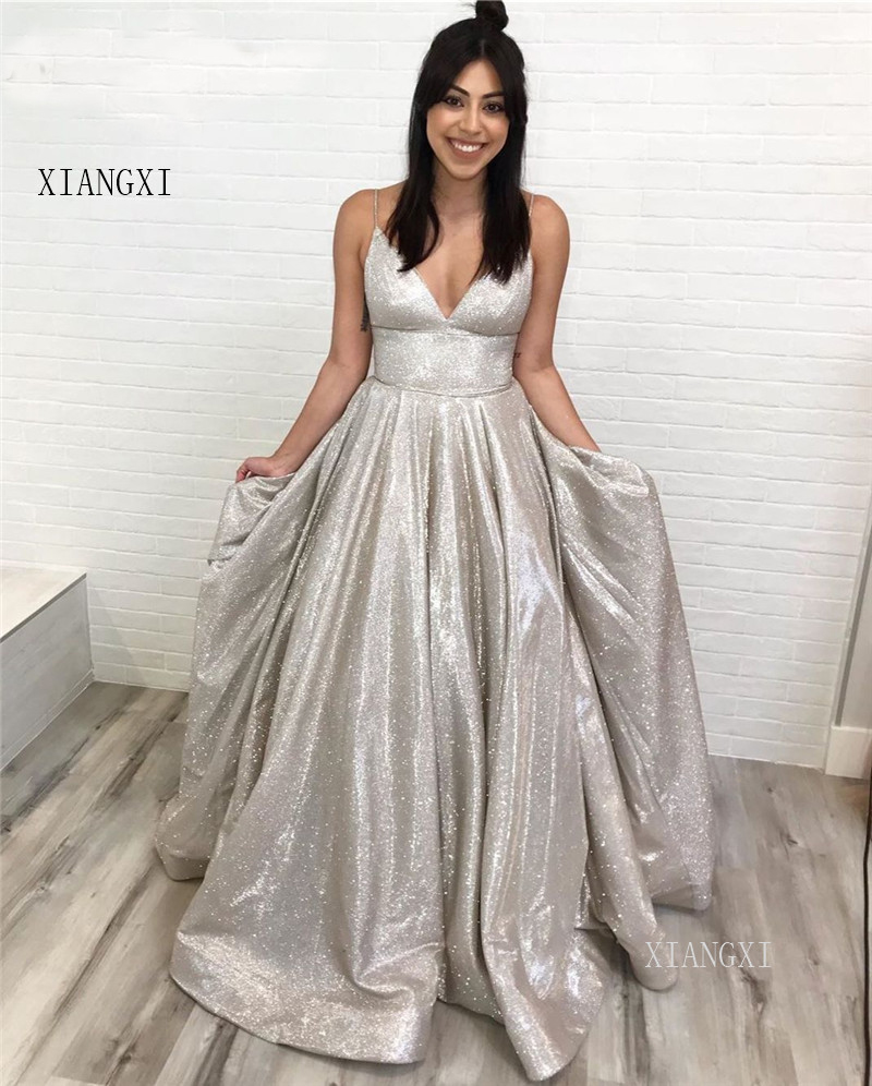 Sparkly Arabic Prom Dresses 2019 Deep V-Neck Sleeveless A-Line Shinny Evening Formal Gowns With Pockets Corset Back Vestido Gala